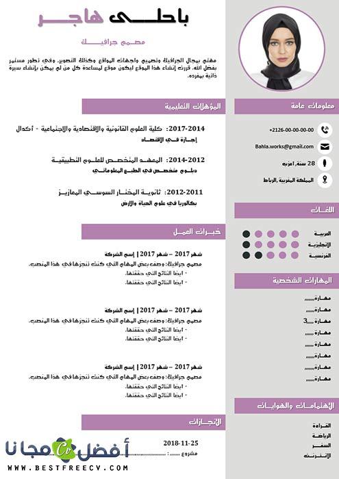 سيرة ذاتية بالعربية ناجحة