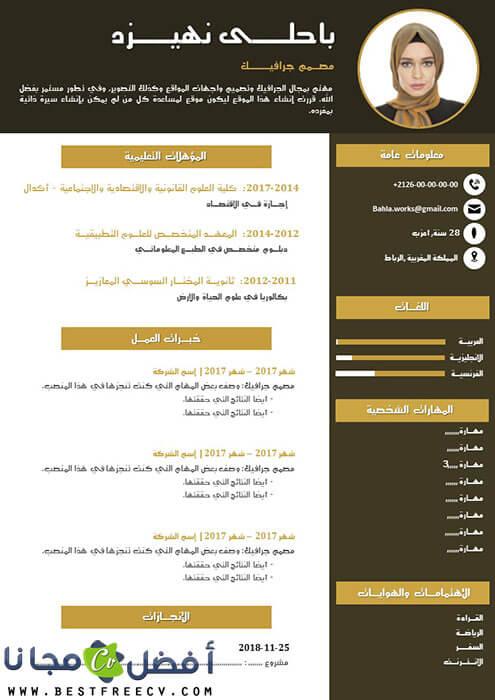 سيرة ذاتية للعمل بالعربية