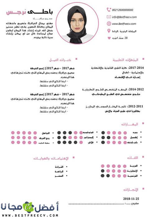 قالب سيرة ذاتية احترافي بالعربية