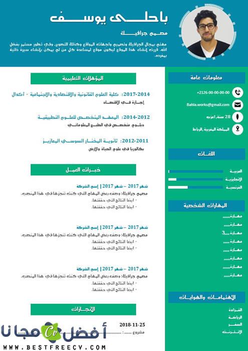نموذج سيرة ذاتية للتعبئة بالعربية