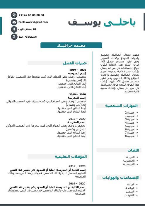 سيرة ذاتية احترافية PDF